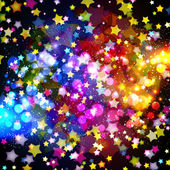 Bright colorful flying stars on a fantastic design background. — Stock Vector