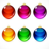 Christmas glass balls with a golden cap and loop. — Stock Vector