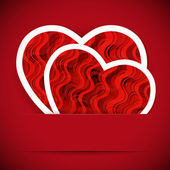 Two paper heartes postcard. Valentine's day vector background. — 图库矢量图片