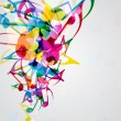 Colorful music background with bright musical design elements. - Imagens vectoriais em stock