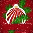 Christmas background. Wticker ball and tree branch inserted into — Stockvektor