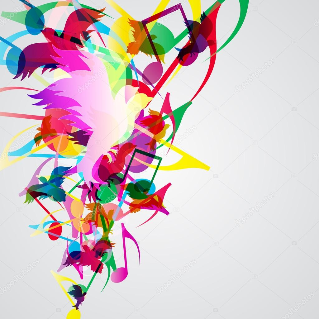 colorful music background with bright musical design
