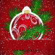 Royalty-Free Stock Imagem Vetorial: Christmas background. Wticker ball and tree branch inserted into