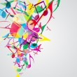 Royalty-Free Stock Vector Image: Colorful music background with bright musical design elements.