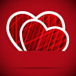 Two paper heartes postcard. Valentine's day vector background. - Imagen vectorial