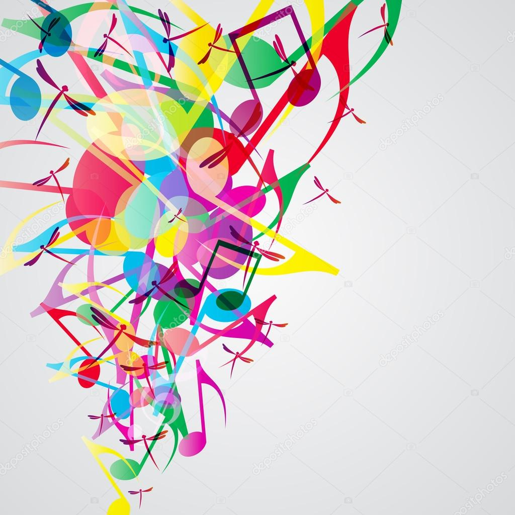 Colorful music background with bright musical design ...