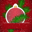 Christmas background. Wticker ball and tree branch inserted into — Vettoriali Stock