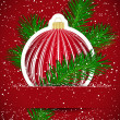 Christmas background. Wticker ball and tree branch inserted into — Imagen vectorial