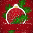 Christmas background. Wticker ball and tree branch inserted into — Stockvectorbeeld