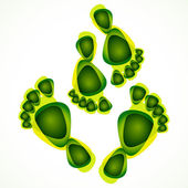 Abstract green foot print background — Stock Vector