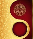 Boule de noël cadeau, arrière-plan de conception de flocon de neige. — Vecteur