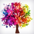 Abstract background, tree with branches made of colorful stars. — Stock Vector