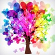 Abstract background, tree with branches made of colorful butterf — Stock Vector