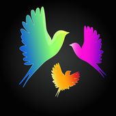 Vector background with a flying birds. — 图库矢量图片