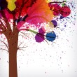 Abstract background, tree with branches made of watercolor drops — Stok Vektör