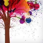 Abstract background, tree with branches made of watercolor drops — Stock Vector