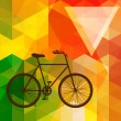 Silhouette of an old bicycle on a colorful mosaic background mad — Stock Vector
