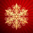 Red Christmas backdrop with christmas snowflake, vector illustra — Stock Vector