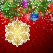 Background with Christmas decoration and snowflakes, illustratio — Vettoriali Stock