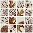 Set of abstract backgrounds with tree branches and floral — ベクター素材ストック