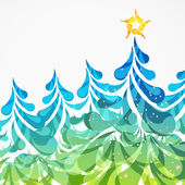 Christmas background with Christmas trees made of arc drops. — Stock Vector