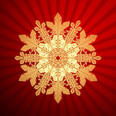 Red Christmas background with christmas snowflake, vector illust — Stock Vector