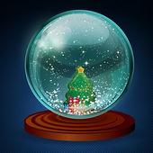 Bola de nieve vectoriales con árbol de navidad y regalos. — Vector de stock