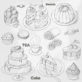 Cakes set — Stock Vector