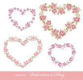 Corações florais — Vetorial Stock