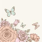 Rosa y mariposa 1 — Vector de stock