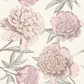 Seamless peony sketch pattern. — Stock Vector