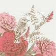 Background  with bird and flower — Image vectorielle