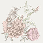 цветочный фон с птицей — Cтоковый вектор