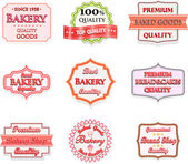 Collection of vintage bakery logo badges and labels — Stock Vector