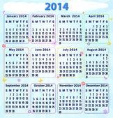 Calendar 2014. Vector. — Stock Vector