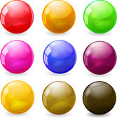 Set of colored glossy spheres — Vector de stock