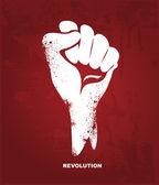 Serrait la main de poing. concept de révolution — Vecteur