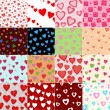Super set vector seamless pattern with hearts — Stock Vector #13676707
