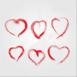 Set of scribble hearts with grungy texture — Stock Vector #13677781