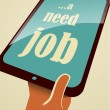 Royalty-Free Stock Vector Image: I need a job. Tablet PC in hand.