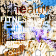 FITNESS. Word Grunge collage on background. — Imagen vectorial