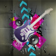 colorful disco dance background with electric guitar — Stock Vector