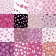 Super set vector seamless pattern with hearts — Vector de stock