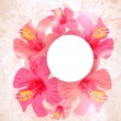 Abstract tropical background. Hibiscus flower for design. — Vettoriali Stock