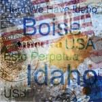Idaho. słowo ilustracja kolaż na tle — Wektor stockowy