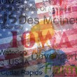 Iowa State. Word Grunge collage on background. — Vettoriali Stock
