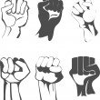 Clenched fist set — Stock Vector