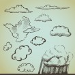 Vector set: drawn by hand clouds — Stock Vector