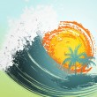 Tropical background with palm, waves and sun — Stock Vector #13677783