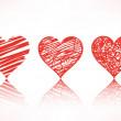 dizi karalama Kalpler — Stok Vektör